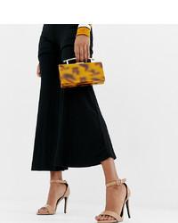 Sandales à talons en cuir brunes New Look Wide Fit