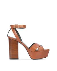 Sandales à talons en cuir brunes Saint Laurent