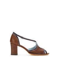 Sandales à talons en cuir brunes Sarah Chofakian