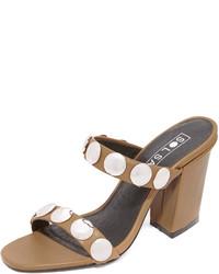 Sandales à talons en cuir brunes Sol Sana