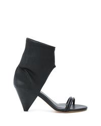 Sandales à talons en cuir découpées noires Isabel Marant