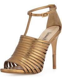 Sandales à talons en cuir dorées