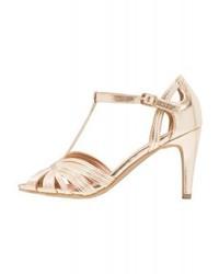 Sandales à talons en cuir dorées Anna Field