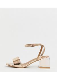 Sandales à talons en cuir dorées ASOS DESIGN