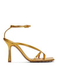 Sandales à talons en cuir dorées Bottega Veneta