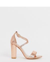 Sandales à talons en cuir dorées Glamorous Wide Fit
