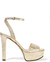 Sandales à talons en cuir dorées Gucci