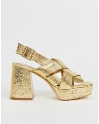 Sandales à talons en cuir dorées Head over Heels by Dune