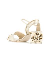Sandales à talons en cuir dorées Casadei