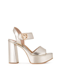 Sandales à talons en cuir dorées Love Moschino