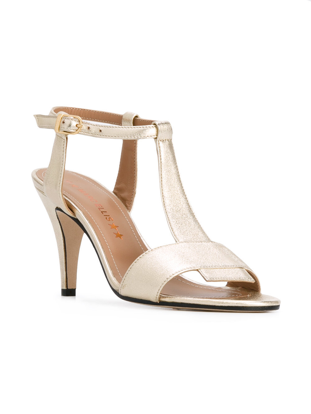 Sandales à talons en cuir dorées Marc Ellis