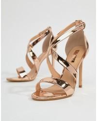 Sandales à talons en cuir dorées Office