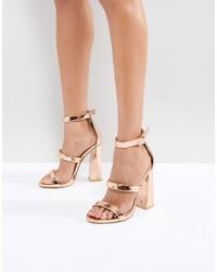 Sandales à talons en cuir dorées Public Desire