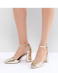 Sandales à talons en cuir dorées Qupid