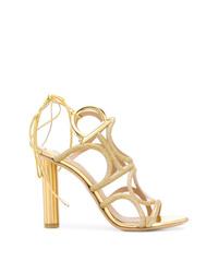 Sandales à talons en cuir dorées Salvatore Ferragamo