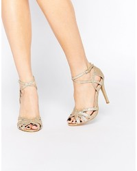 Sandales à talons en cuir dorées True Decadence