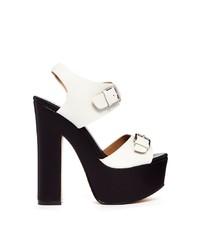 Sandales à talons en cuir épaisses blanches et noires Shellys London