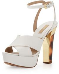 Sandales à talons en cuir épaisses blanches