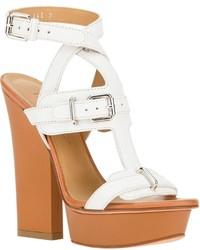 Sandales à talons en cuir épaisses blanches Dsquared2