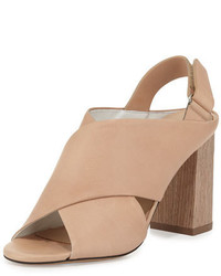 Sandales à talons en cuir épaisses marron clair