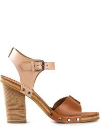 Sandales à talons en cuir épaisses marron