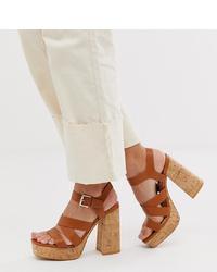 Sandales à talons en cuir épaisses marron Stradivarius