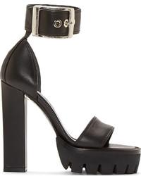 Sandales à talons en cuir épaisses noires