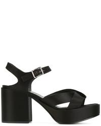 Sandales à talons en cuir épaisses noires Jil Sander