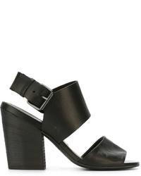 Sandales à talons en cuir épaisses noires Marsèll