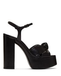 Sandales à talons en cuir épaisses noires Saint Laurent
