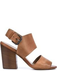 Sandales à talons en cuir épaisses tabac Marsèll