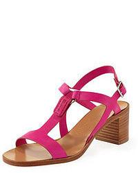 Sandales à talons en cuir fuchsia