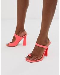 Sandales à talons en cuir fuchsia ASOS DESIGN