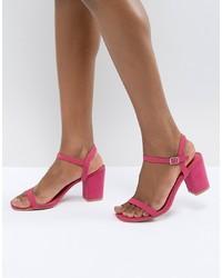 Sandales à talons en cuir fuchsia Glamorous