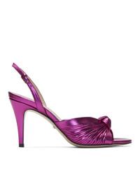 Sandales à talons en cuir fuchsia Gucci