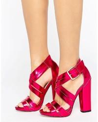 Sandales à talons en cuir fuchsia Little Mistress