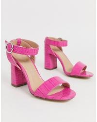 Sandales à talons en cuir fuchsia New Look