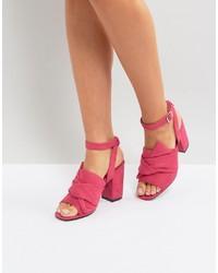 Sandales à talons en cuir fuchsia Park Lane