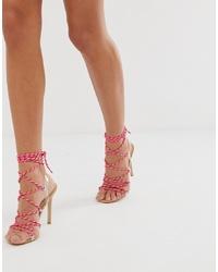 Sandales à talons en cuir fuchsia Public Desire