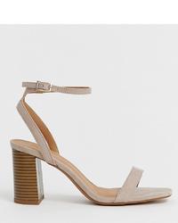 Sandales à talons en cuir grises ASOS DESIGN