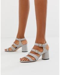 Sandales à talons en cuir grises Faith