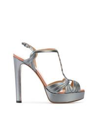 Sandales à talons en cuir grises Francesco Russo