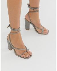 Sandales à talons en cuir grises Public Desire