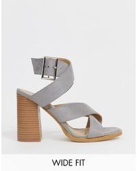 Sandales à talons en cuir grises Raid Wide Fit
