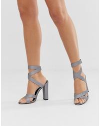 Sandales à talons en cuir grises SIMMI Shoes