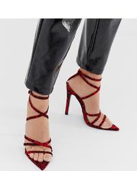 Sandales à talons en cuir imprimées léopard bordeaux PrettyLittleThing