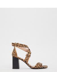 Sandales à talons en cuir imprimées léopard marron clair New Look