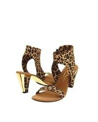 Sandales à talons en cuir imprimées léopard marron