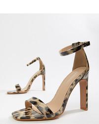 Sandales à talons en cuir imprimées léopard marron Glamorous