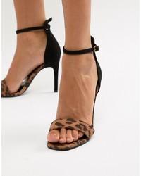 Sandales à talons en cuir imprimées léopard tabac New Look